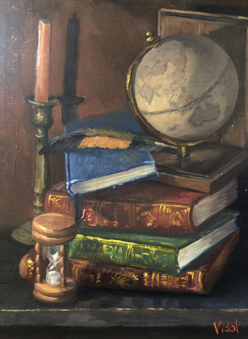 (CreativeWork) Globe, books and time - still life by Christopher Vidal. Oil Paint. Shop online at Bluethumb.