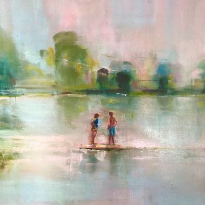 (CreativeWork) Dreamers by Sara Roberts. Oil Paint. Shop online at Bluethumb.