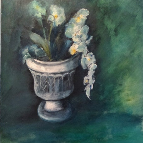 (CreativeWork) White orchids in white urn by Kylie van Tol. Acrylic Paint. Shop online at Bluethumb.