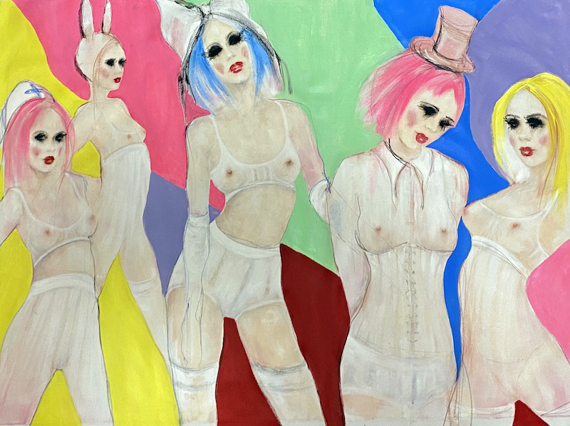 (CreativeWork) Bardotesque babes by Fiona Maclean. Oil Paint. Shop online at Bluethumb.