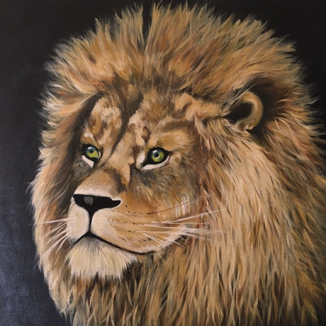(CreativeWork) Strong as a Lion by Kathryn Johnston. Acrylic Paint. Shop online at Bluethumb.