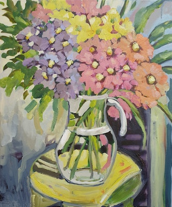 (CreativeWork) Daisies in a glass  jug  by Karen Cipressi. Oil Paint. Shop online at Bluethumb.