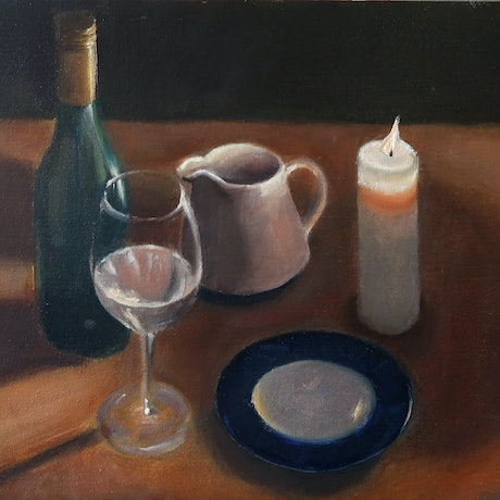(CreativeWork) Still life with Light from a candle on porcelain and glassware by Nicholas Kerr. Oil Paint. Shop online at Bluethumb.
