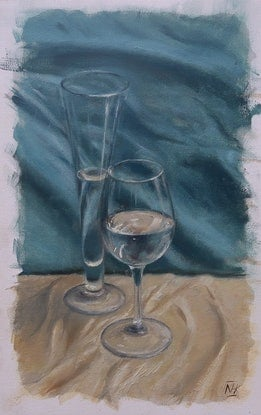 (CreativeWork) Still life with Glassware by Nicholas Kerr. Oil Paint. Shop online at Bluethumb.