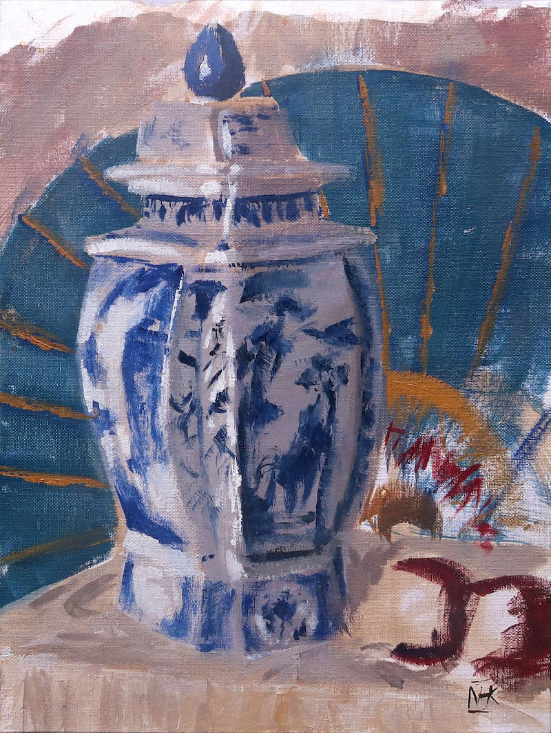 (CreativeWork) Still life with Porcelain vase and parasol by Nicholas Kerr. Oil Paint. Shop online at Bluethumb.