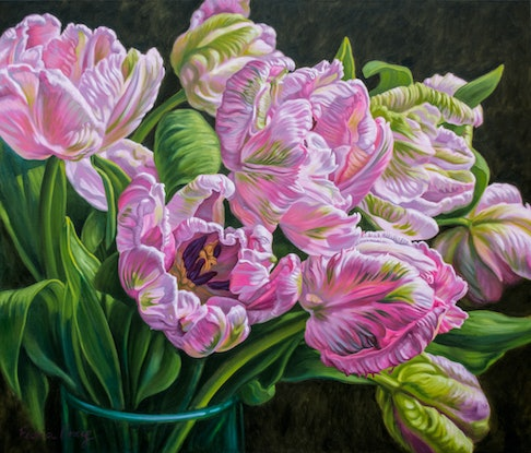 (CreativeWork) Tulipomania: Pink Parrots by Fiona Craig. Oil Paint. Shop online at Bluethumb.
