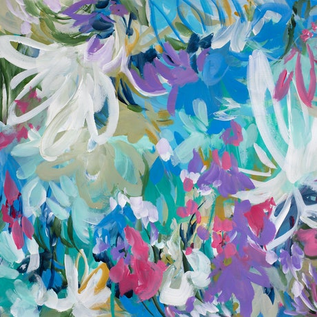 (CreativeWork) Confetti Garden by Amber Gittins. Acrylic Paint. Shop online at Bluethumb.