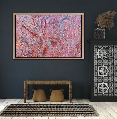 (CreativeWork) Under the Pink Sky by Carley Bourne. Acrylic Paint. Shop online at Bluethumb.