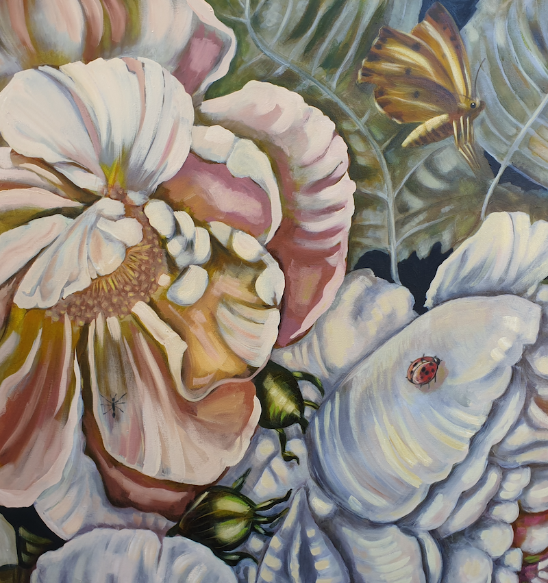 (CreativeWork) Flowers and bugs by Karen Cipressi. Oil Paint. Shop online at Bluethumb.
