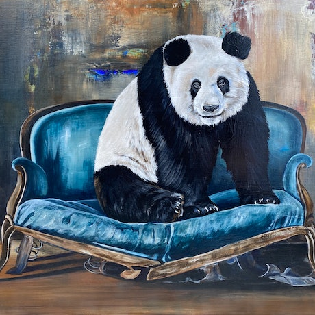 (CreativeWork) Giant Panda by Bonnie Larden. Acrylic Paint. Shop online at Bluethumb.