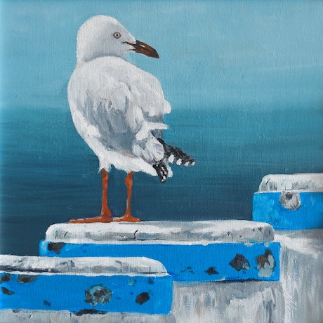(CreativeWork) Seagull - Blue poles by Naomi Veitch. Oil Paint. Shop online at Bluethumb.