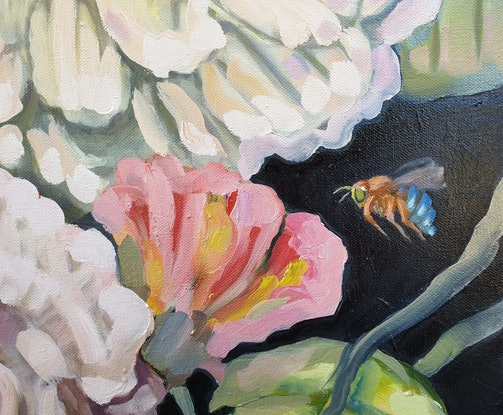 (CreativeWork) Flowers and blue banded bee by Karen Cipressi. Oil Paint. Shop online at Bluethumb.