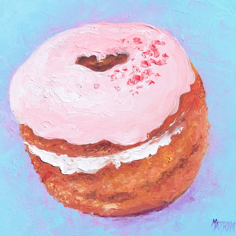 (CreativeWork) DONUT - Framed Food Art by Jan Matson. Oil Paint. Shop online at Bluethumb.