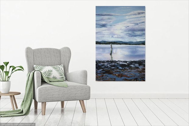 (CreativeWork) Low Tide,  Mortimer Bay, Tasmania by Gaye Sutherland. Oil Paint. Shop online at Bluethumb.