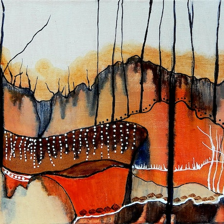 (CreativeWork) Desert Rhyme  by Doodie Herman. Acrylic Paint. Shop online at Bluethumb.
