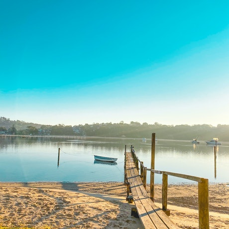 (CreativeWork) Mornings by the Jetty by Stephanie Tuckfield. Reproduction Print. Shop online at Bluethumb.