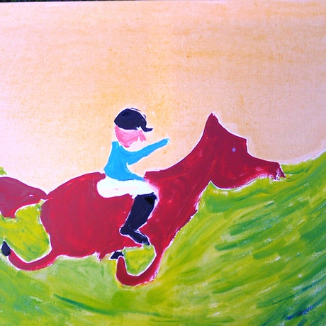 (CreativeWork) Horse and Rider 3 by BRENT JAMES HAVILL (BRENO). Oil Paint. Shop online at Bluethumb.