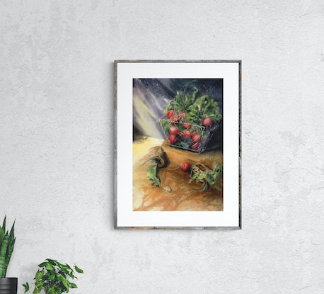 (CreativeWork) Radishes by Cecilia Xiao. Watercolour Paint. Shop online at Bluethumb.