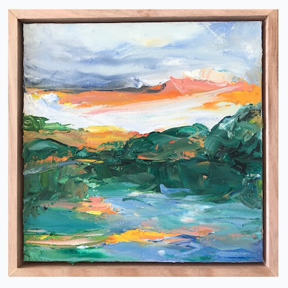 (CreativeWork) Sunset On The River by Marnie McKnight. Oil Paint. Shop online at Bluethumb.