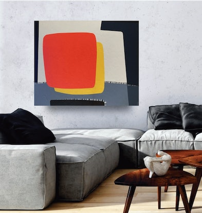 (CreativeWork) Mysterious sun - large original textured acrylic on canvas, ready to hang by Yelena Revis. Acrylic Paint. Shop online at Bluethumb.