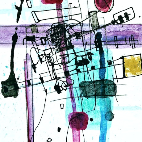(CreativeWork) Beyond Fabricated Constructions 15 Abstract, mixed media, drawing, painting. (unframed) (ask about framing)  by Jenny Davis. Mixed Media. Shop online at Bluethumb.