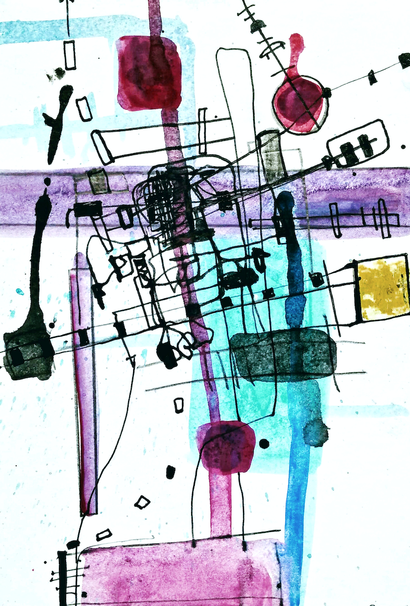 (CreativeWork) Beyond Fabricated Constructions 15. Abstract, mixed media, drawing, painting. (unframed) (ask about framing)  by Jenny Davis. Mixed Media. Shop online at Bluethumb.