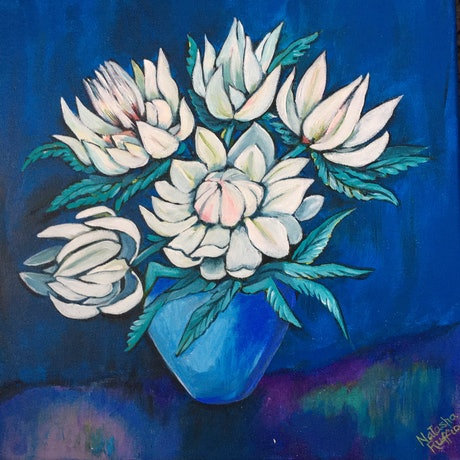 (CreativeWork) Loving Blue: White Flower Series by Natasha Ruffio. Acrylic Paint. Shop online at Bluethumb.
