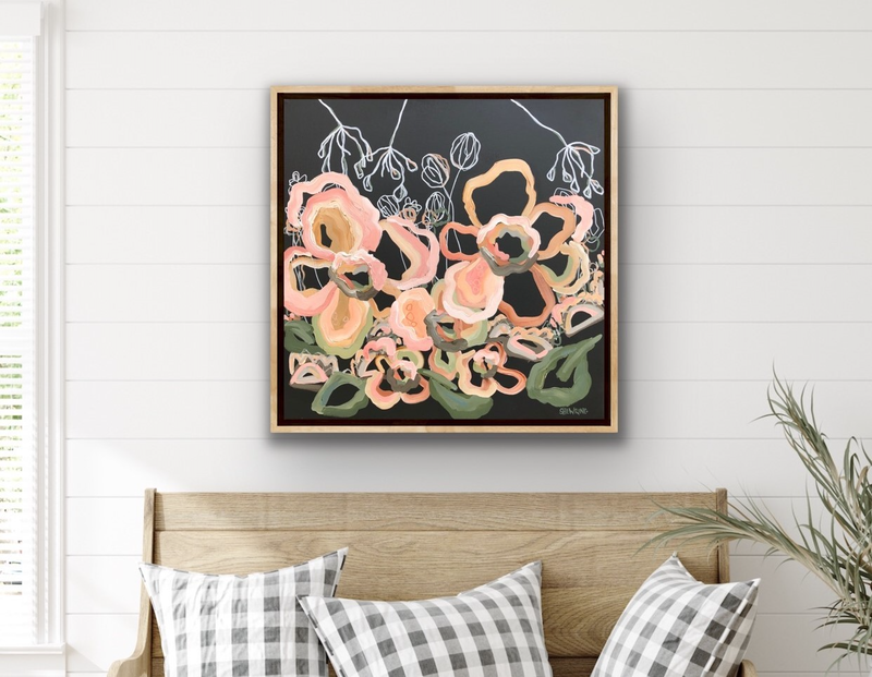 (CreativeWork) Espresso Love - Abstract Flowers - Flowers Give Happiness by Jen Shewring. Acrylic Paint. Shop online at Bluethumb.
