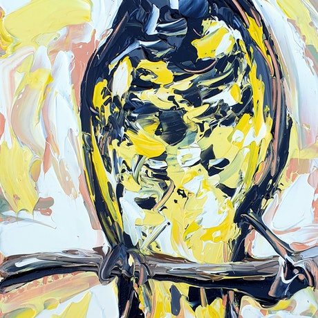 (CreativeWork) Regent Honey Eater  by Lisa Fahey. Acrylic Paint. Shop online at Bluethumb.