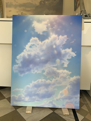 (CreativeWork) Rays Through Cloud by David Tracey. Acrylic Paint. Shop online at Bluethumb.