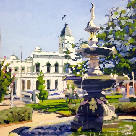 (CreativeWork) Forbes Fountain by David Isbester. Oil Paint. Shop online at Bluethumb.