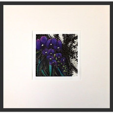 (CreativeWork) Purple Hovea  1 of 3 by Tania Daymond. Drawings. Shop online at Bluethumb.