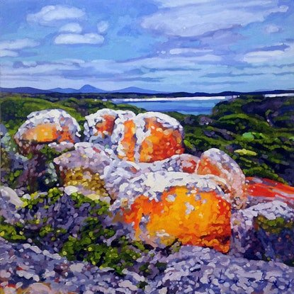 (CreativeWork) Red Bluff by David Isbester. Acrylic Paint. Shop online at Bluethumb.
