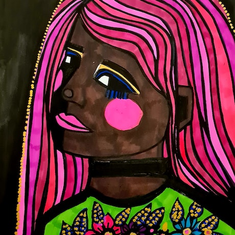 (CreativeWork) Pink haired Dana  by jane ruggiero. Drawings. Shop online at Bluethumb.