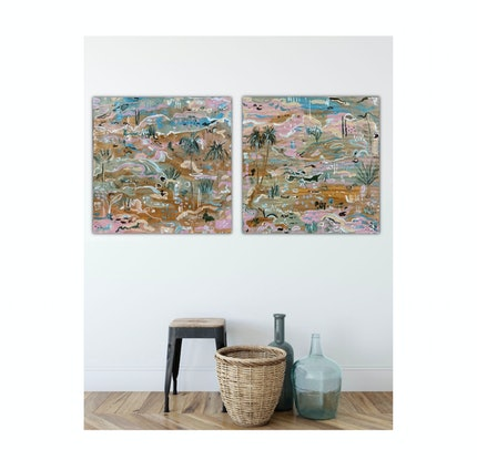 (CreativeWork) Palm Valley 1 & 2 by Carley Bourne. Acrylic Paint. Shop online at Bluethumb.