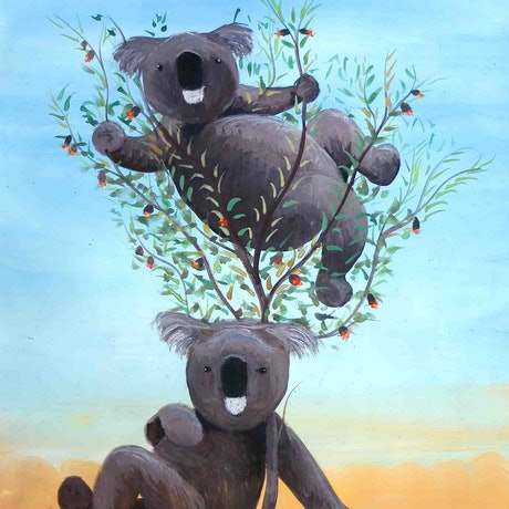 (CreativeWork) Two Koala  by John Graham. Mixed Media. Shop online at Bluethumb.