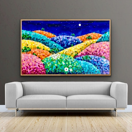 (CreativeWork) Silent night 180x110 framed large textured abstract landscape commission reserved for Karen by Sophie Lawrence. Acrylic Paint. Shop online at Bluethumb.