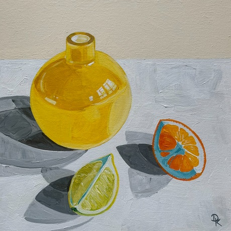 (CreativeWork) Yellow Vase With Lime & Orange by Dominika Keller. Acrylic Paint. Shop online at Bluethumb.
