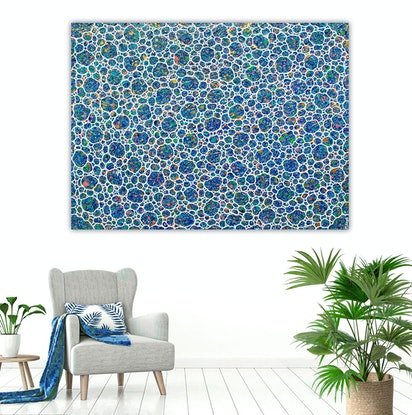 (CreativeWork) Coastal Tropical Pebbles Textural Large Abstract - hang landscape or portrait by Miranda Lloyd. Mixed Media. Shop online at Bluethumb.