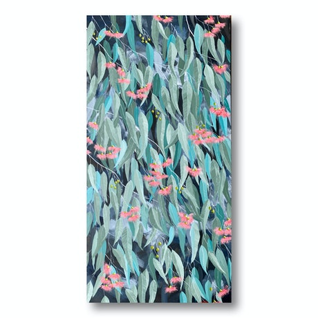 (CreativeWork) Gum Leaves in Winter Sun by Eve Sellars. Acrylic Paint. Shop online at Bluethumb.