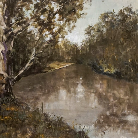 (CreativeWork) Reflections On The Yarra by R.P. Koster. Acrylic Paint. Shop online at Bluethumb.