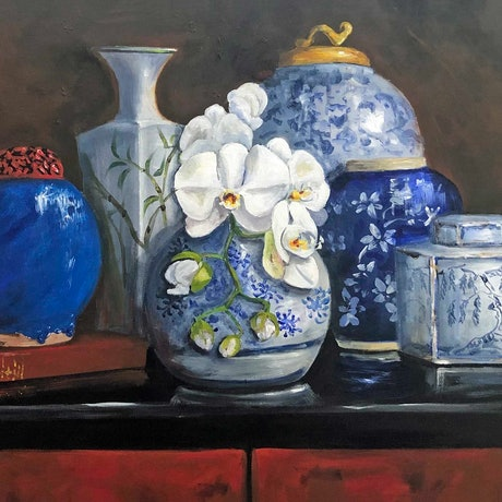 (CreativeWork) Chinoiserie  by Elizabeth Varley. Acrylic Paint. Shop online at Bluethumb.