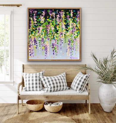 (CreativeWork) Little wisteria 102x102 framed large textured abstract flowers  by Sophie Lawrence. Acrylic Paint. Shop online at Bluethumb.
