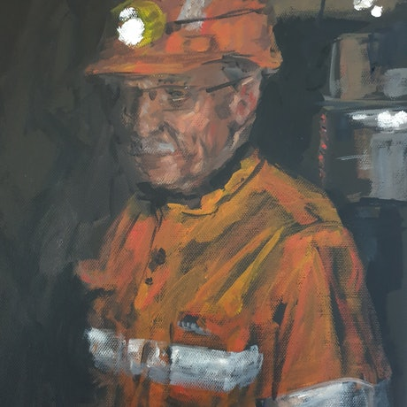 (CreativeWork) Study of a miner for Longwall Excavation by Katrina Okoronkwo. Acrylic Paint. Shop online at Bluethumb.