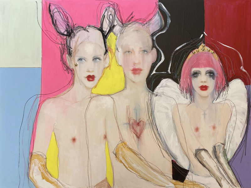 (CreativeWork) Les Trois by Fiona Maclean. Oil Paint. Shop online at Bluethumb.