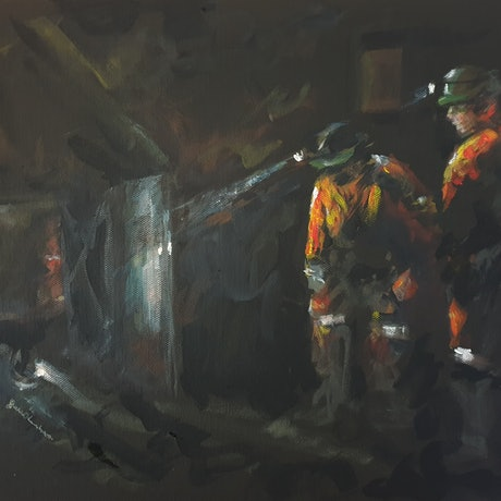 (CreativeWork) Study of miners during Longwall Excavation by Katrina Okoronkwo. Acrylic Paint. Shop online at Bluethumb.
