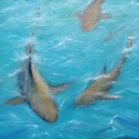(CreativeWork) Sharks by Sergei Londar. Oil Paint. Shop online at Bluethumb.