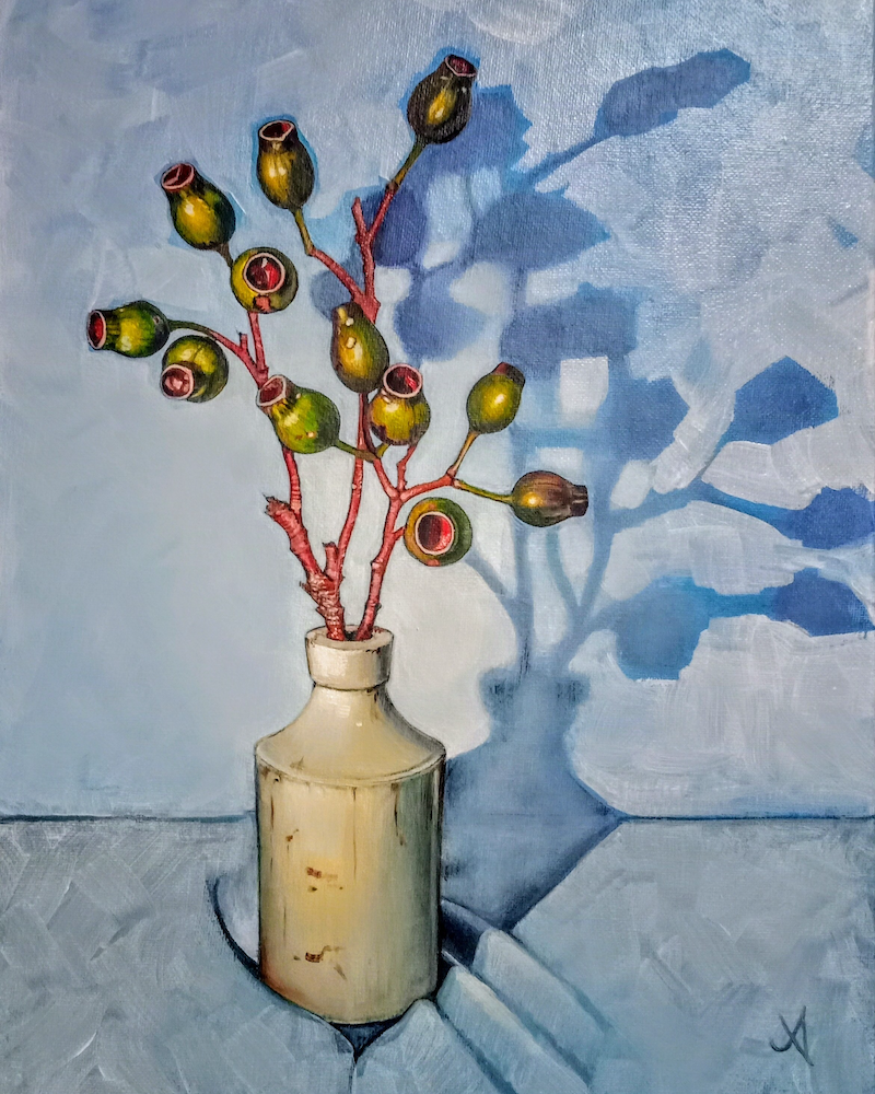 (CreativeWork) Gumnut on blue by Jenny Albanis. Acrylic Paint. Shop online at Bluethumb.