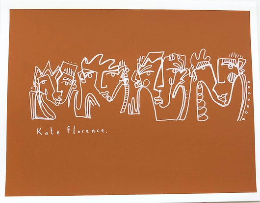 (CreativeWork) Doodle in orange  by Kate Florence. Drawings. Shop online at Bluethumb.