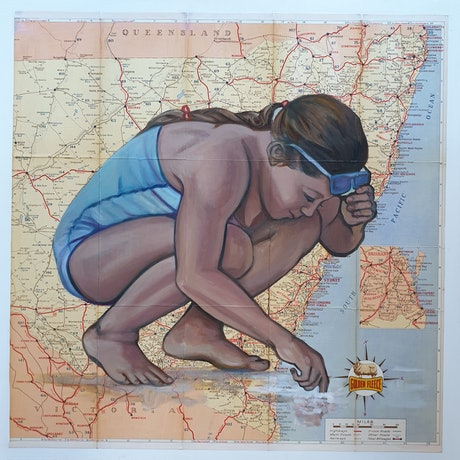 (CreativeWork) Testing the Water  by Sherry McCourt. Oil Paint. Shop online at Bluethumb.